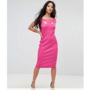Pink Ribbed Midi Bodycon